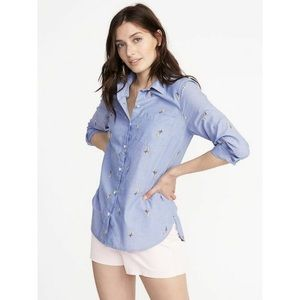 Women's Blue Relaxed Classic Printed Shirt